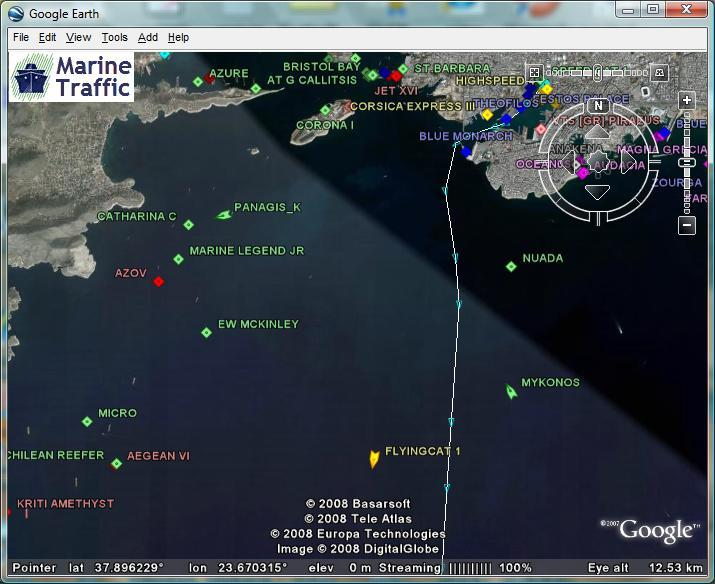 MarineTraffic on Google Earth